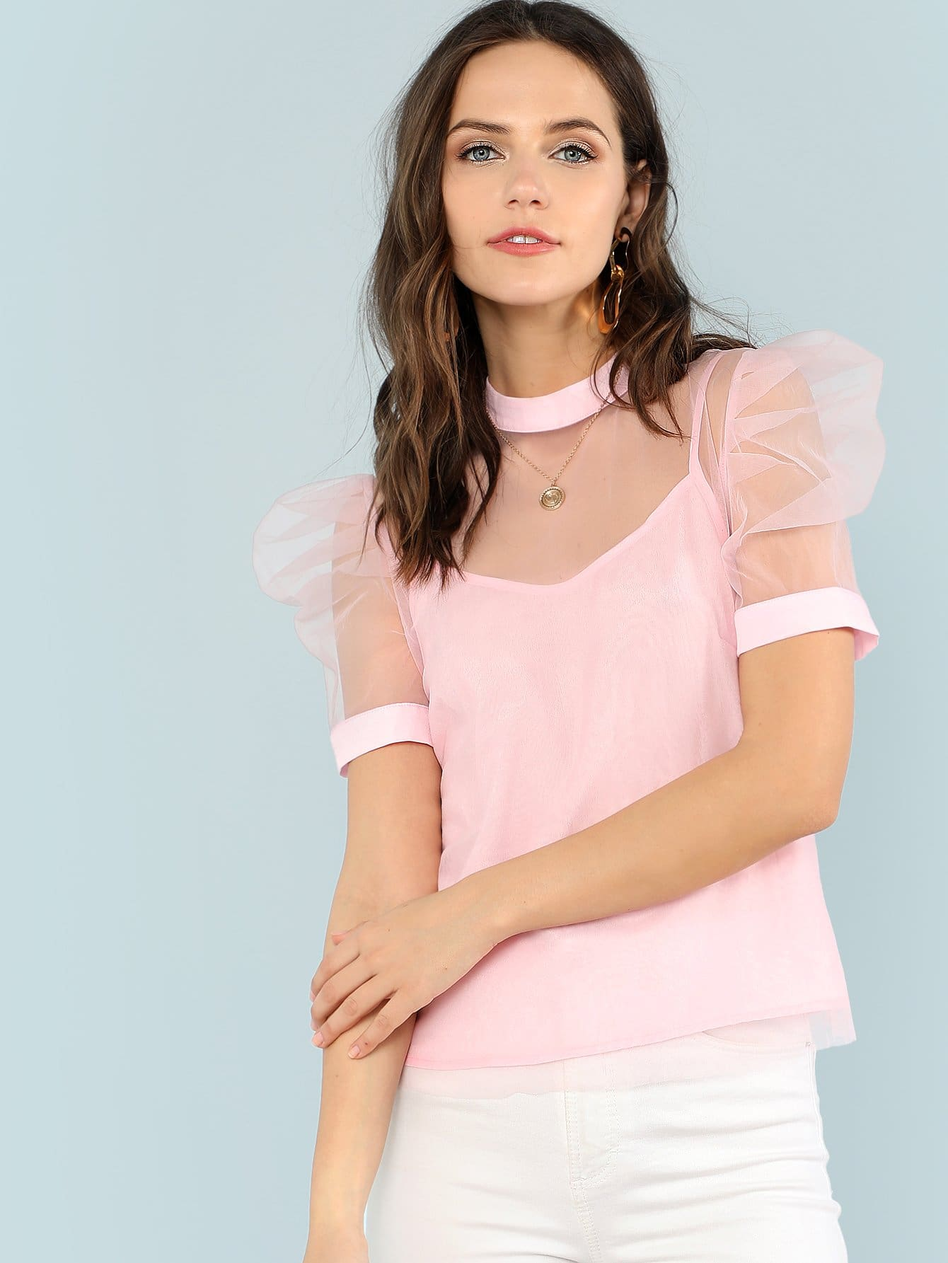 Puff Sleeve Sheer Mesh Blouse With Cami Top sheer dotted blouse with smocked detail