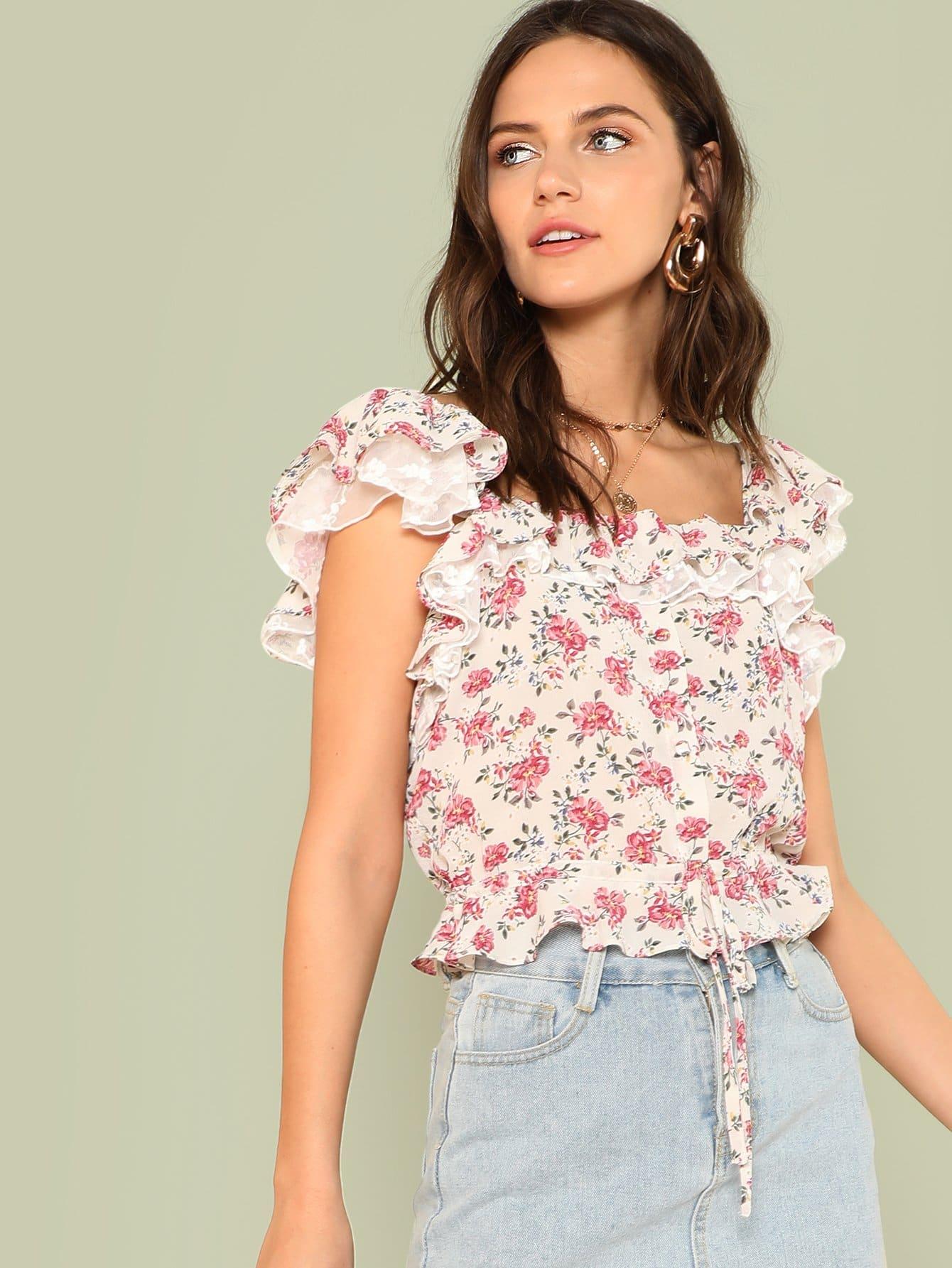 Calico Print Ruffle Trim Crop Blouse ruffle long sleeve crop bandeau blouse
