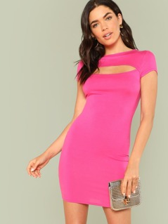 Cut Out Front Solid Bodycon Dress