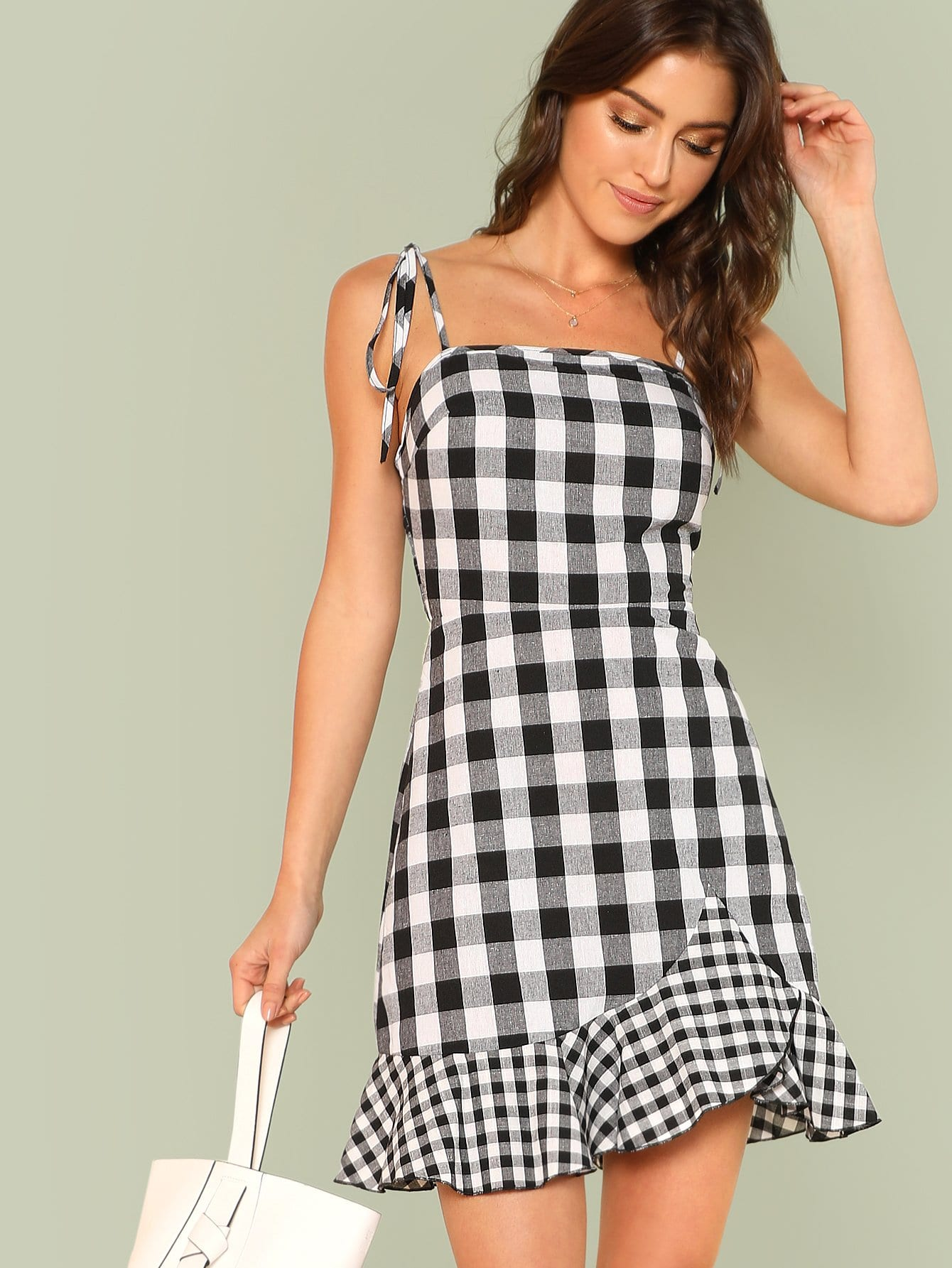 Asymmetrical Ruffle Hem Gingham Tied Cami Dress wrap front tied v back ruffle hem dress