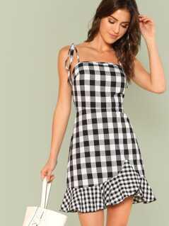 Asymmetrical Ruffle Hem Gingham Tied Cami Dress