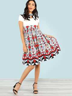Graphic Print Fit & Flared Dress