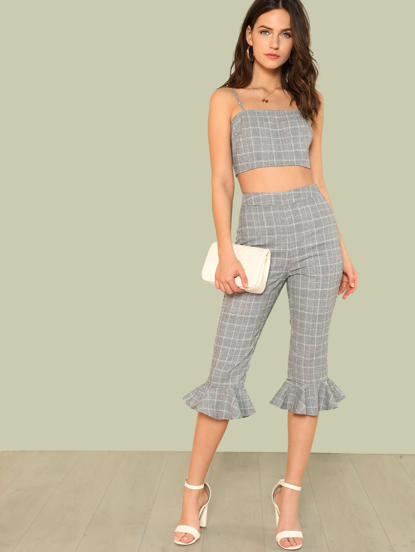 Plaid Cami Crop Top And Ruffle Hem Pants Set glen plaid ruffle cami top