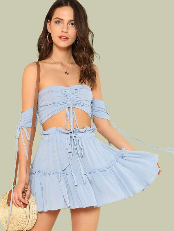 Drawstring Crop Bardot Top With Tiered Skirt Set by Shein
