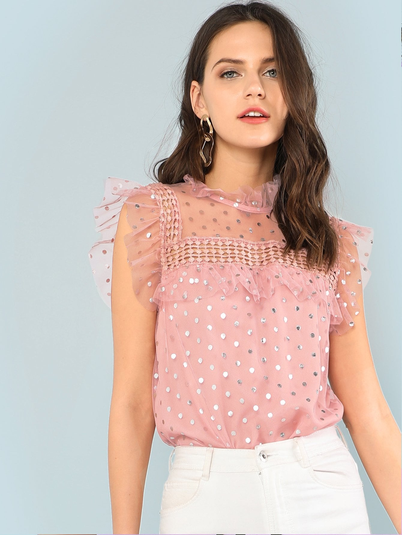 Silver Polka Dot Ruffle Trim See Through Top свитшот print bar красная шапочка