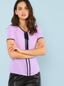 Contrast Binding Knot Front Top SHEIN