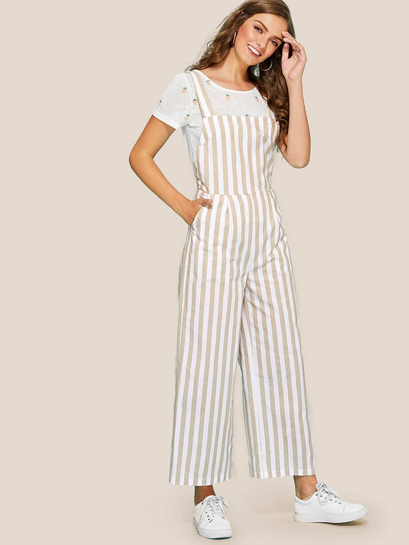 Thick Strap Striped Wide Leg Jumpsuit shirred panel wide leg striped jumpsuit