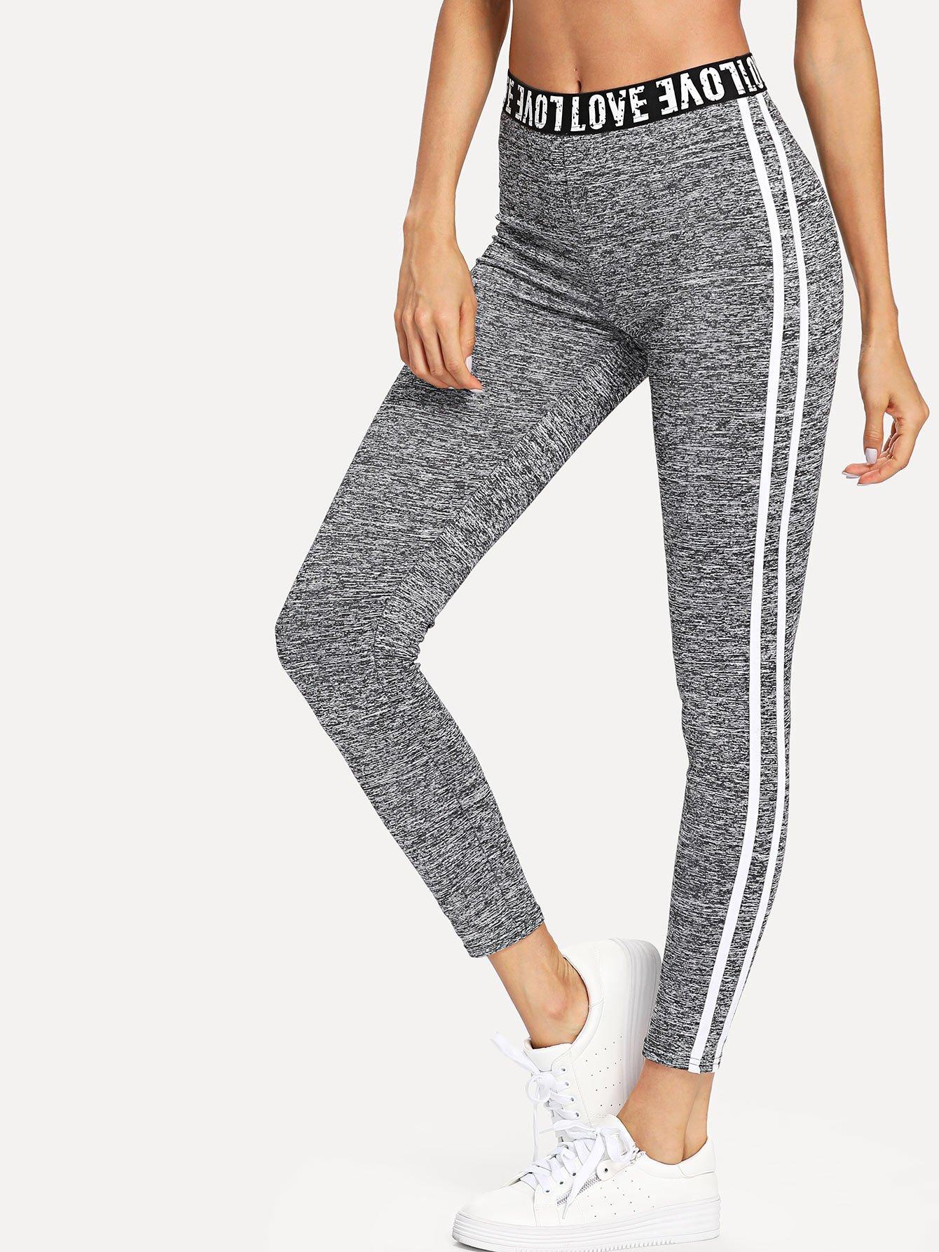 Letter Print Waist Striped Side Leggings drawstring waist side striped leggings