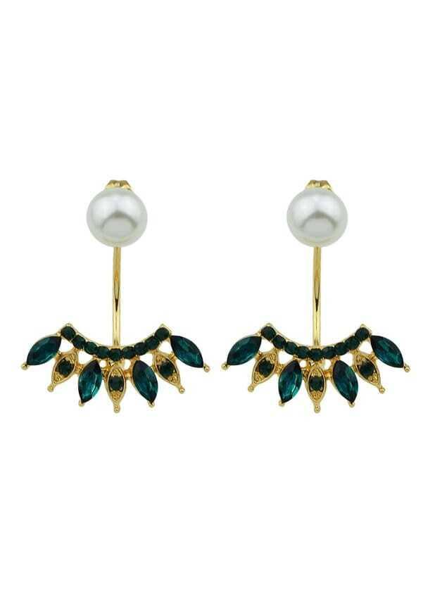 Green Fan-Shaped Diamond Earrings мультиварка brand 37502 в новосибирске