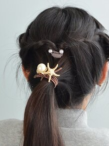 Brown Starfish Pearl Hair Ring