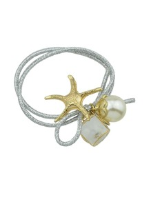 Silver Starfish Pearl Hair Ring