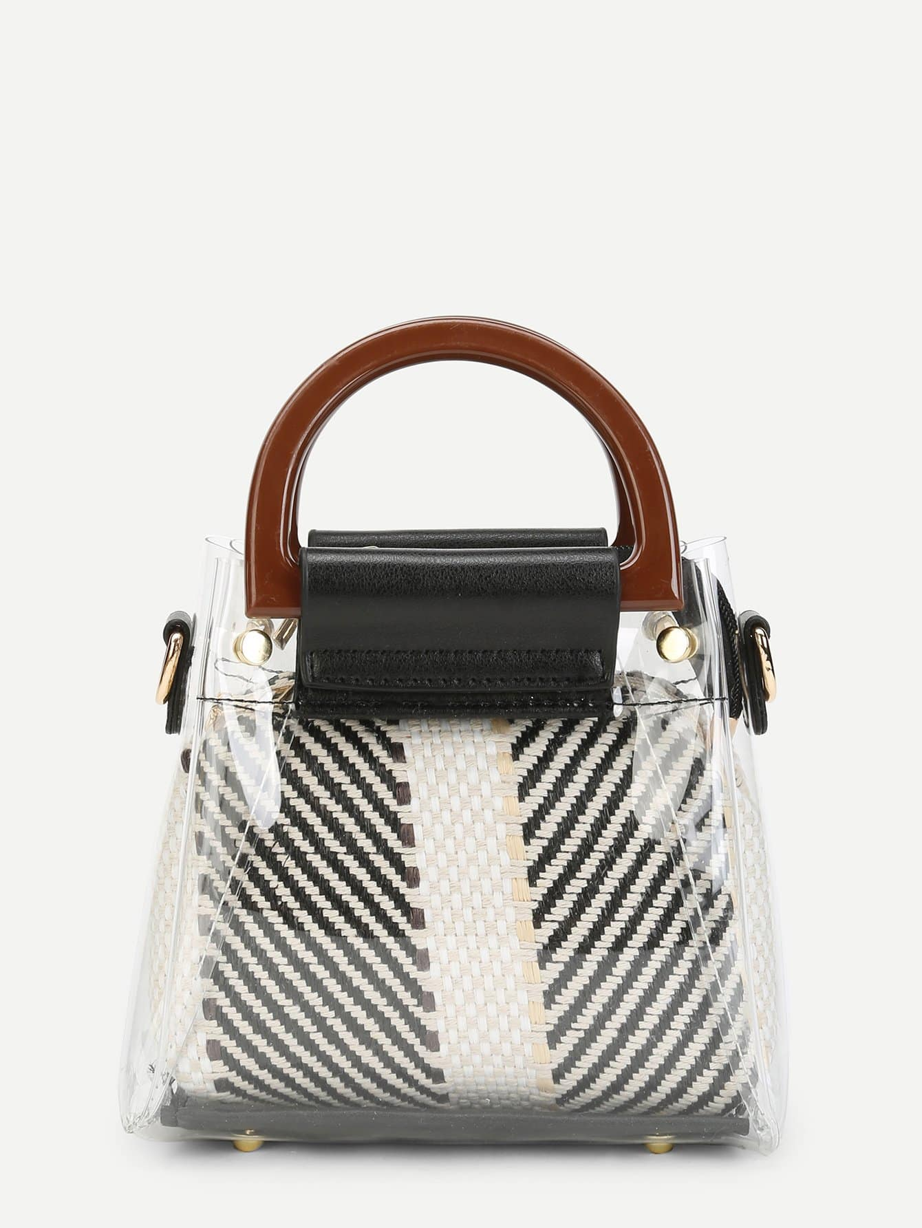 Clear Detail Double Handle Woven Bag woven bag with double handle