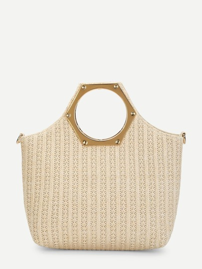 Metallic Handle Woven Tote Bag