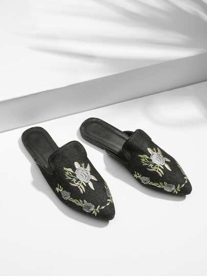 Denim Flower Embroidered Flats