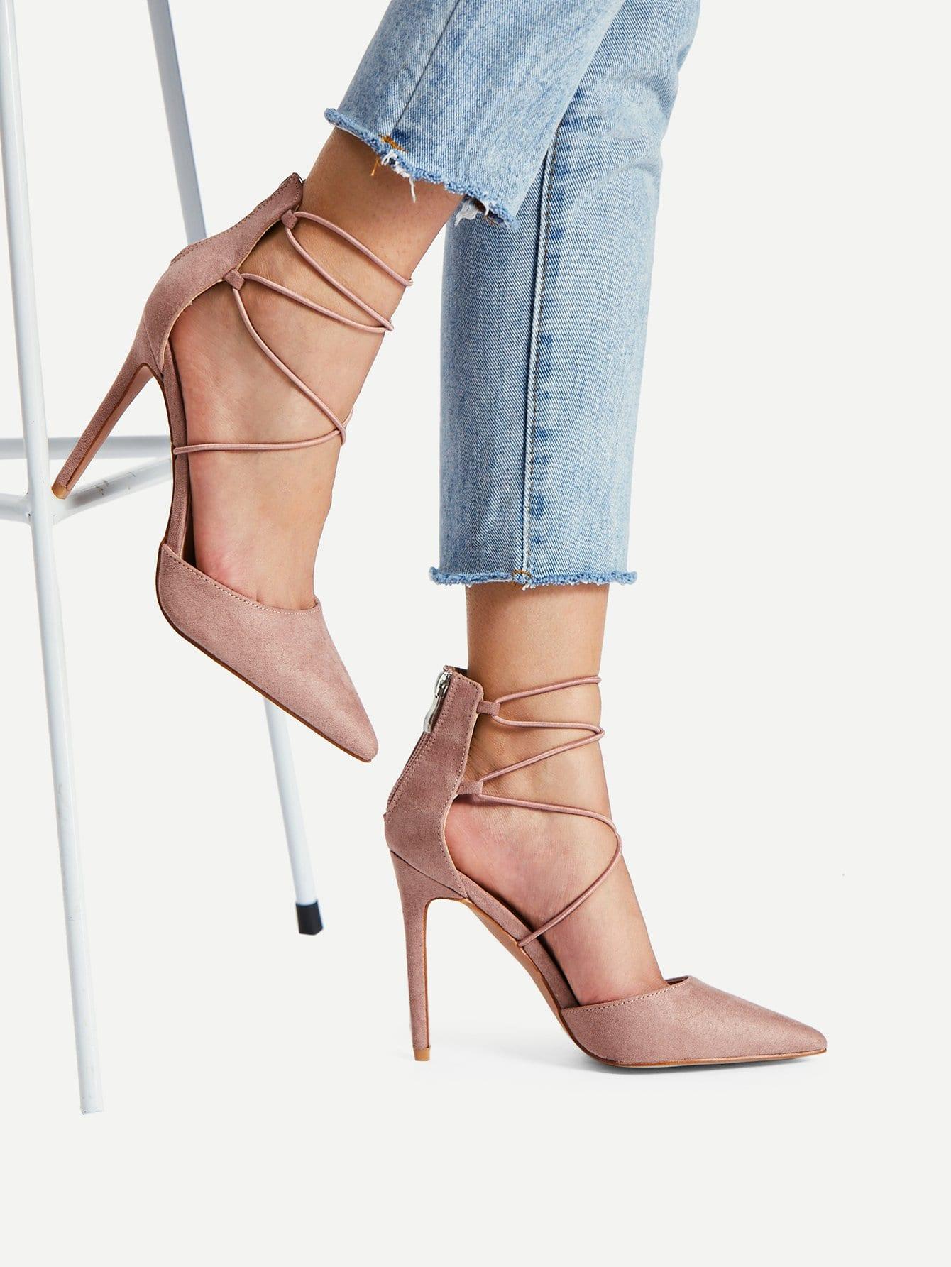 Купить Criss Cross Strappy Heels, null, SheIn