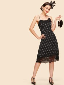 Lace Trim Dot Cami Dress