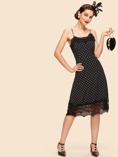 Lace Trim Dot Cami Dress