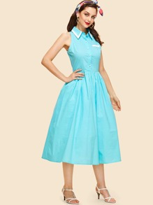 Button Embellished Fit & Flared Collar Dress