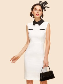 Contrast Collar Pencil Dress