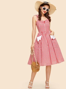 Self Tie Shoulder Fit & Flared Plaid Dress