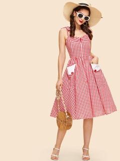 Self Tie Shoulder Fit & Flared Plaid Dress