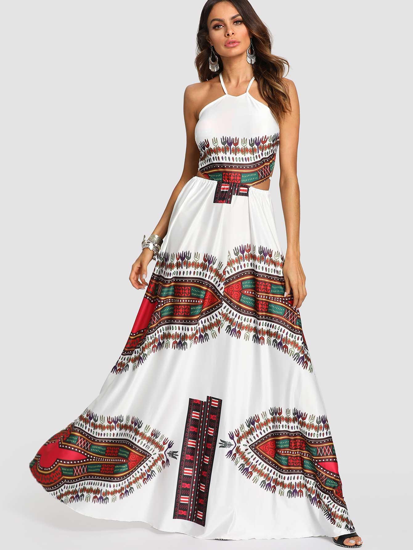 Ornate Print Crisscross Knot Back Halter Dress mixed print colorblock knot back halter dress