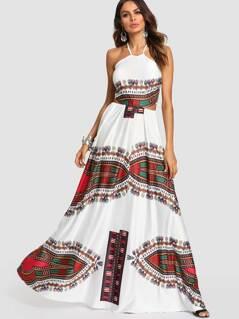 Ornate Print Crisscross Knot Back Halter Dress