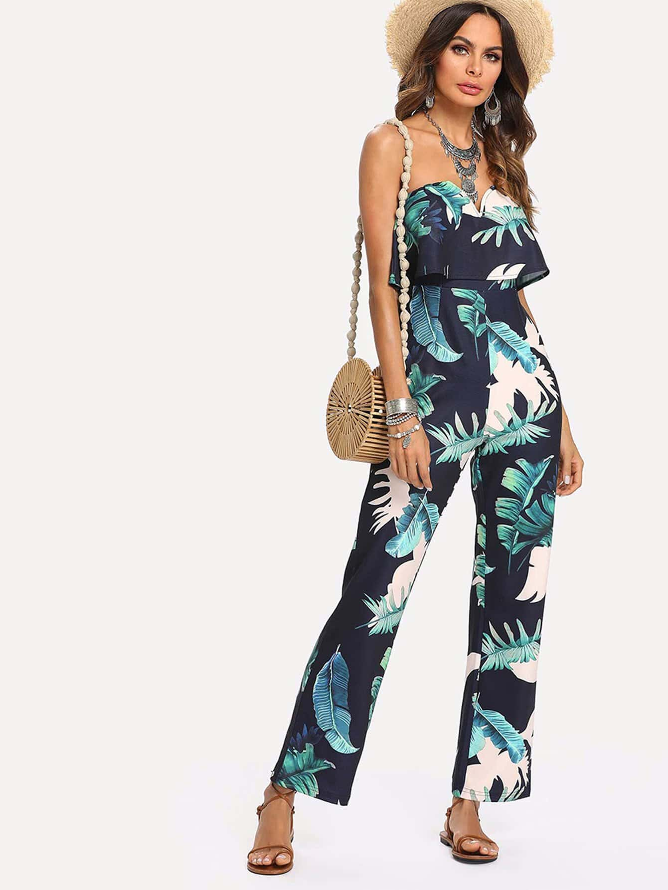 Tropical Print Flounce Trim Bardot Jumpsuit tropical print flounce off shoulder wide leg jumpsuit