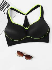 Contrast Piping Sports Bra