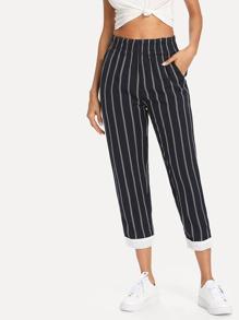 Contrast Hem Pinstripe Tapered Pants