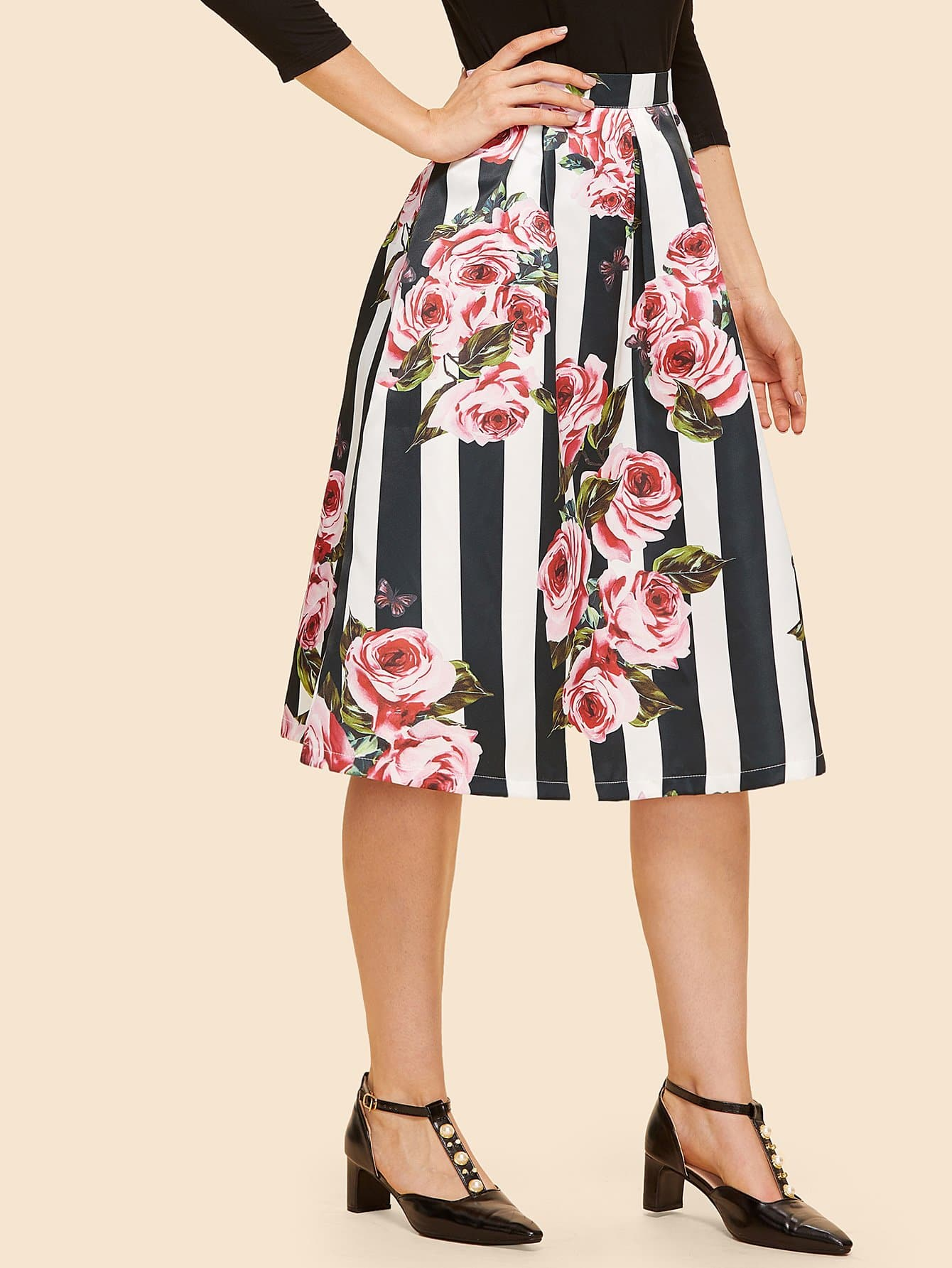 Rose & Striped Print Box Pleated Skirt box pleated suede skirt
