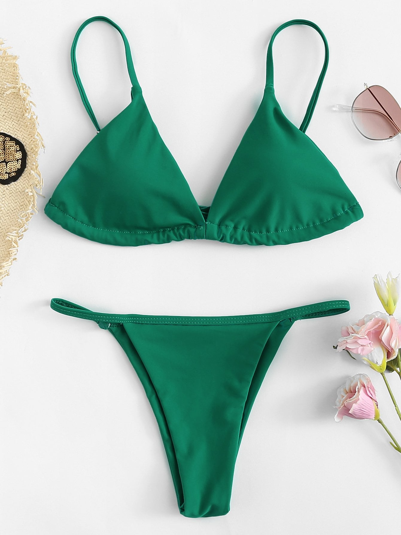 Halter Neck Triangle Bikini Set green halter v neck padded design triangle bikini