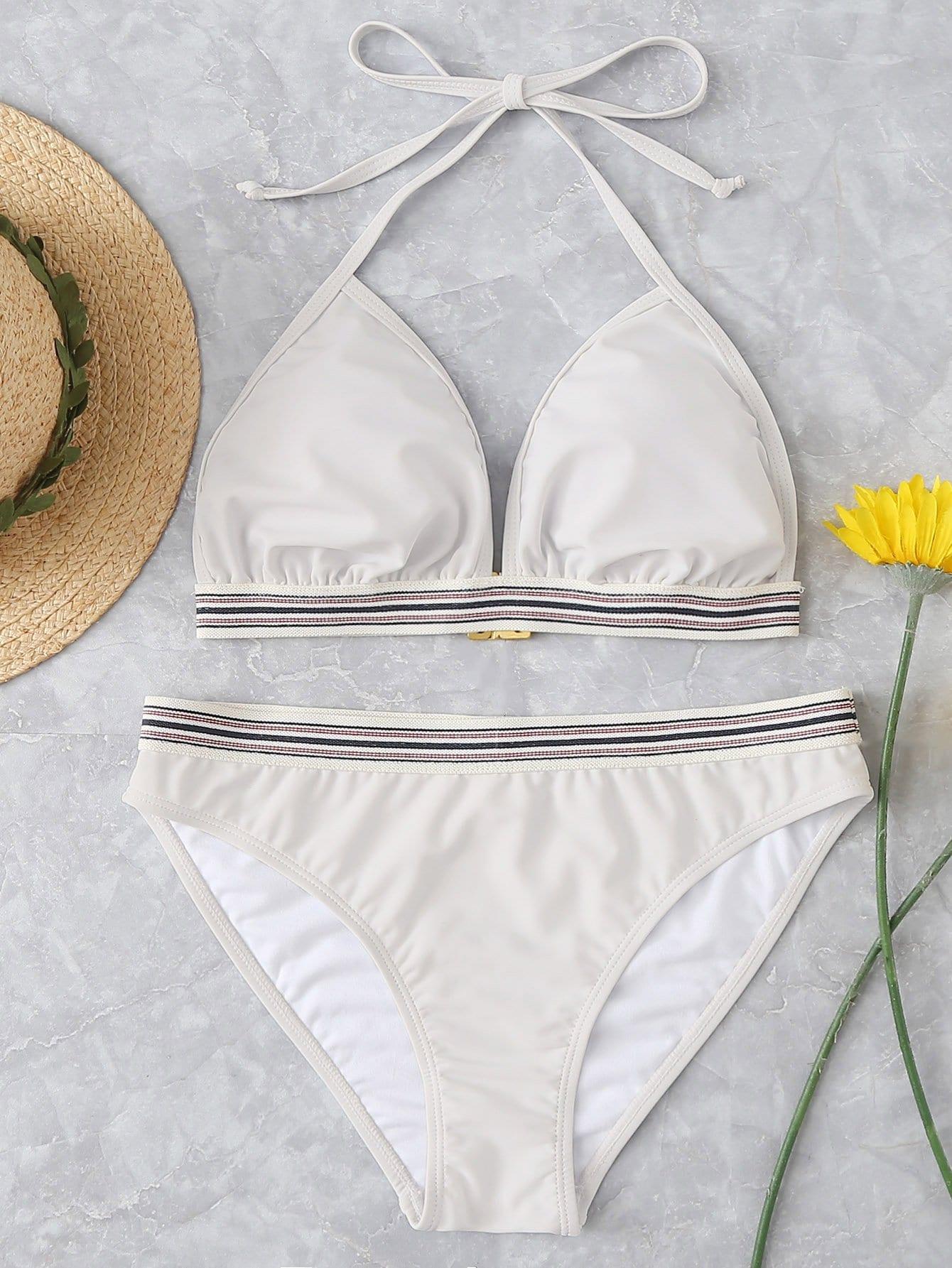 Striped Trim Halter Bikini Set halter striped low cut bikini set