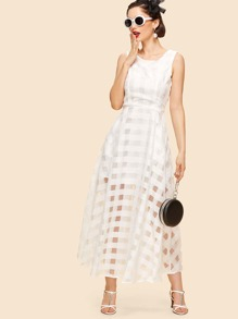 Organza Sheer-Plaid Dress