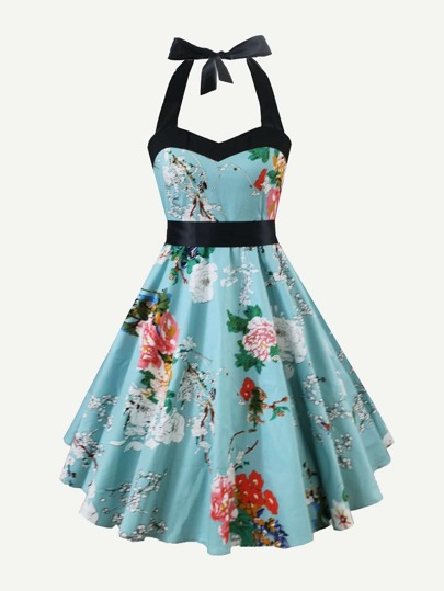 Floral Print Knot Back Halter Dress
