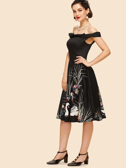 Off The Shoulder Graphic Print Dress
