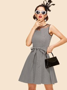 Houndstooth Contrast Mesh Belted Dress
