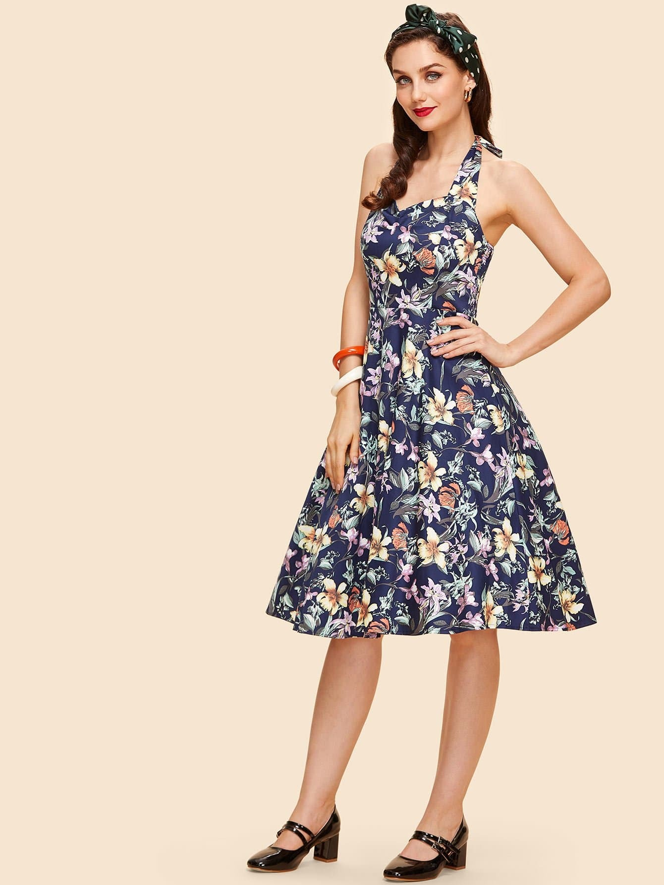 Floral Print Knot Back Halter Dress cut out knot back floral print dress