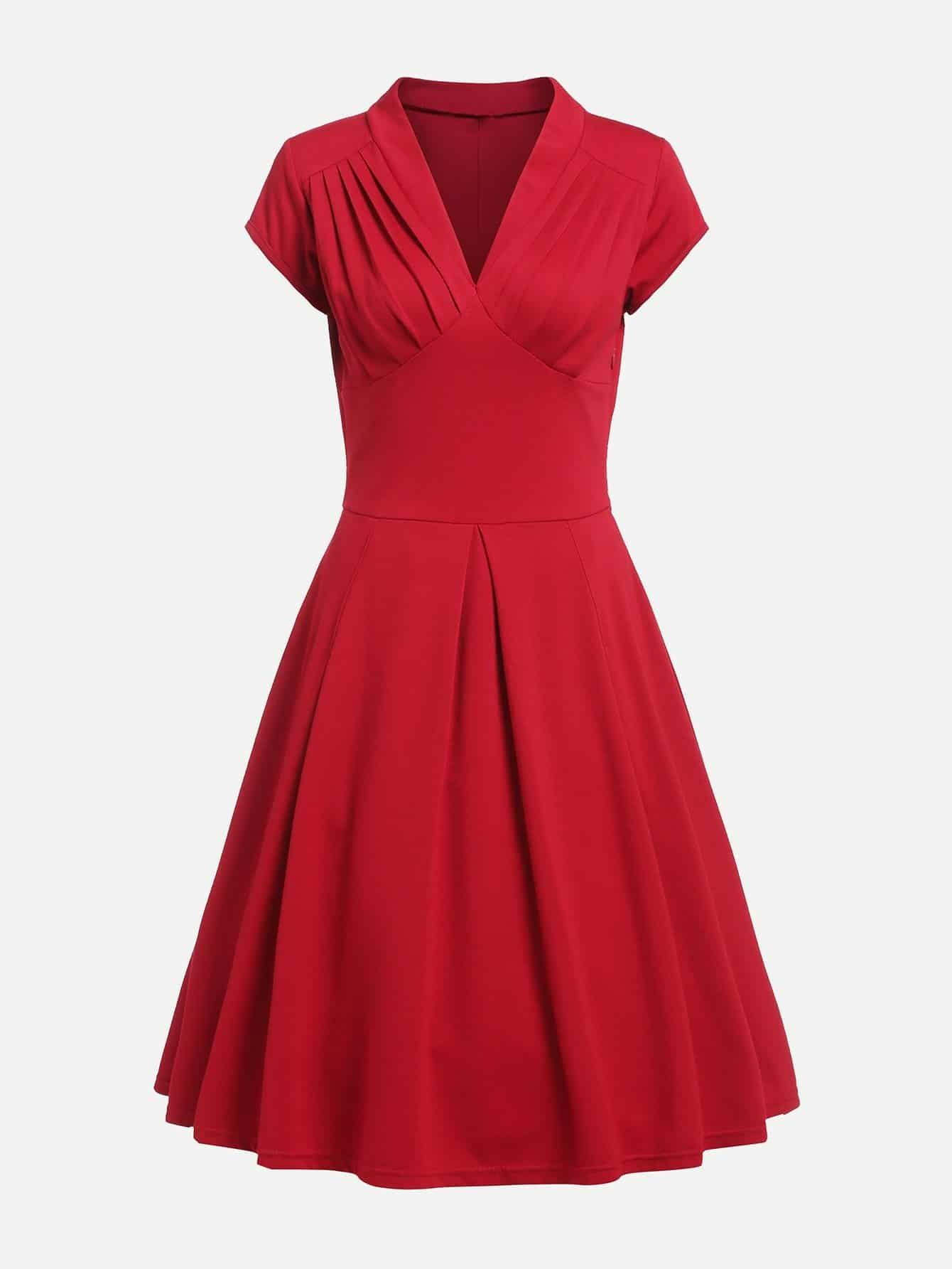 Купить Платье с v-образным воротником плиссированное, null, SheIn