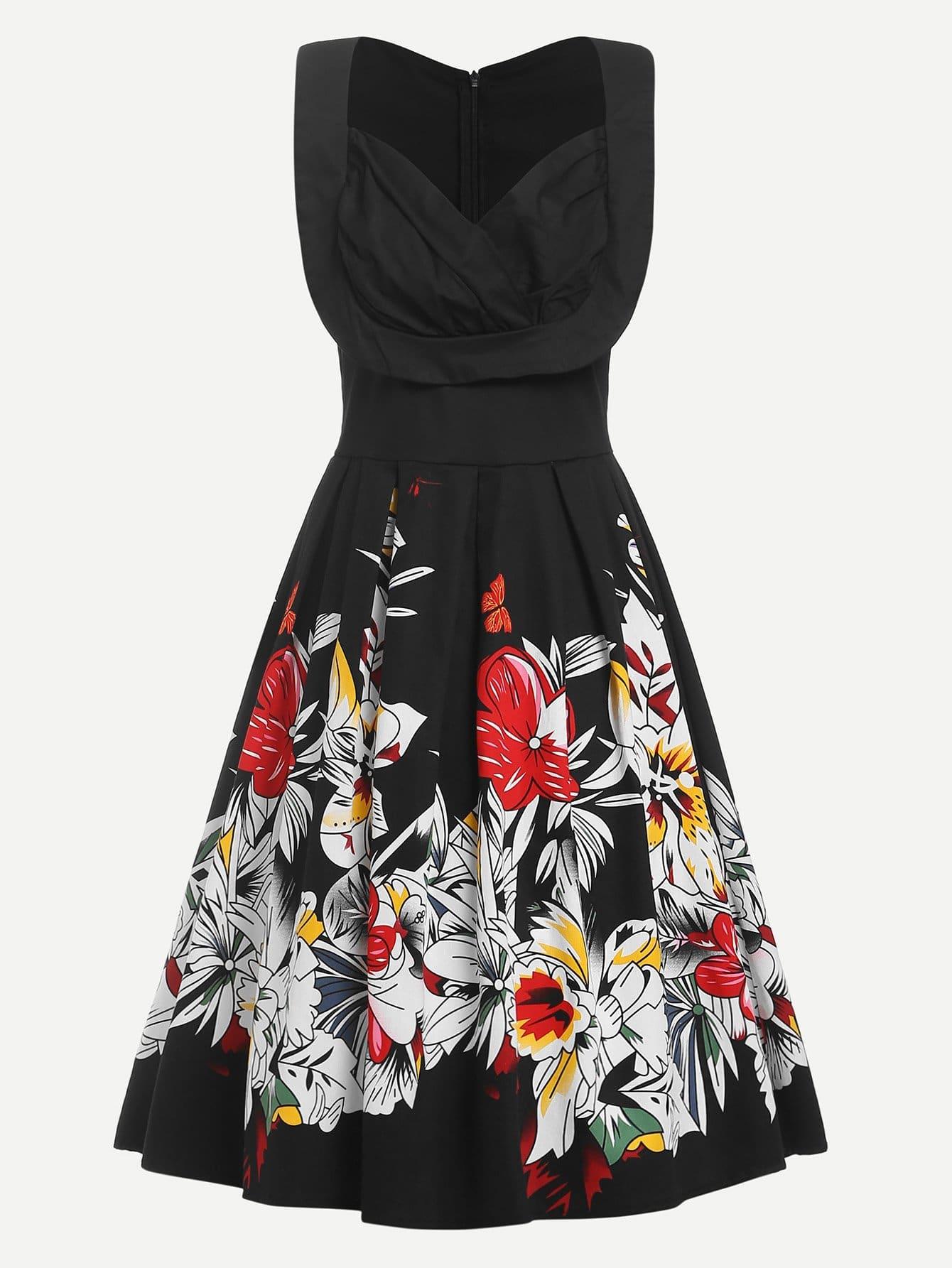 Купить Платье в цветочек с v-образным воротником, null, SheIn