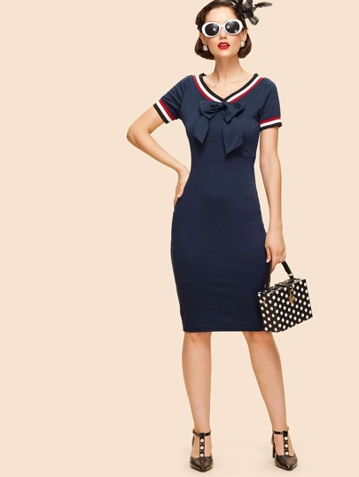 V Neckline Knot Front Striped Dress