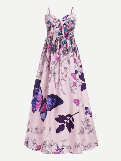 Butterfly Print Knot Front Pleated Cami Dress