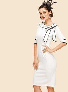 Asymmetrical Neckline Knot Detail Dress