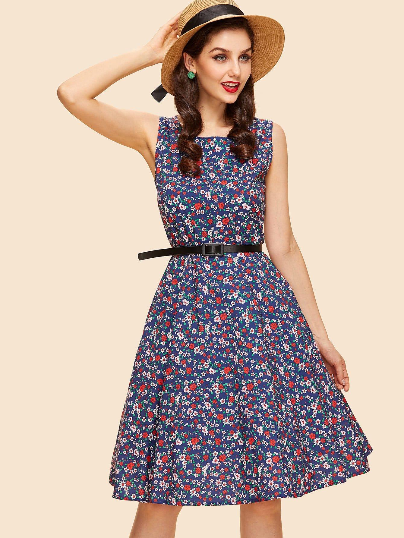 Купить Цветочное платье с поясом, Julie H., SheIn