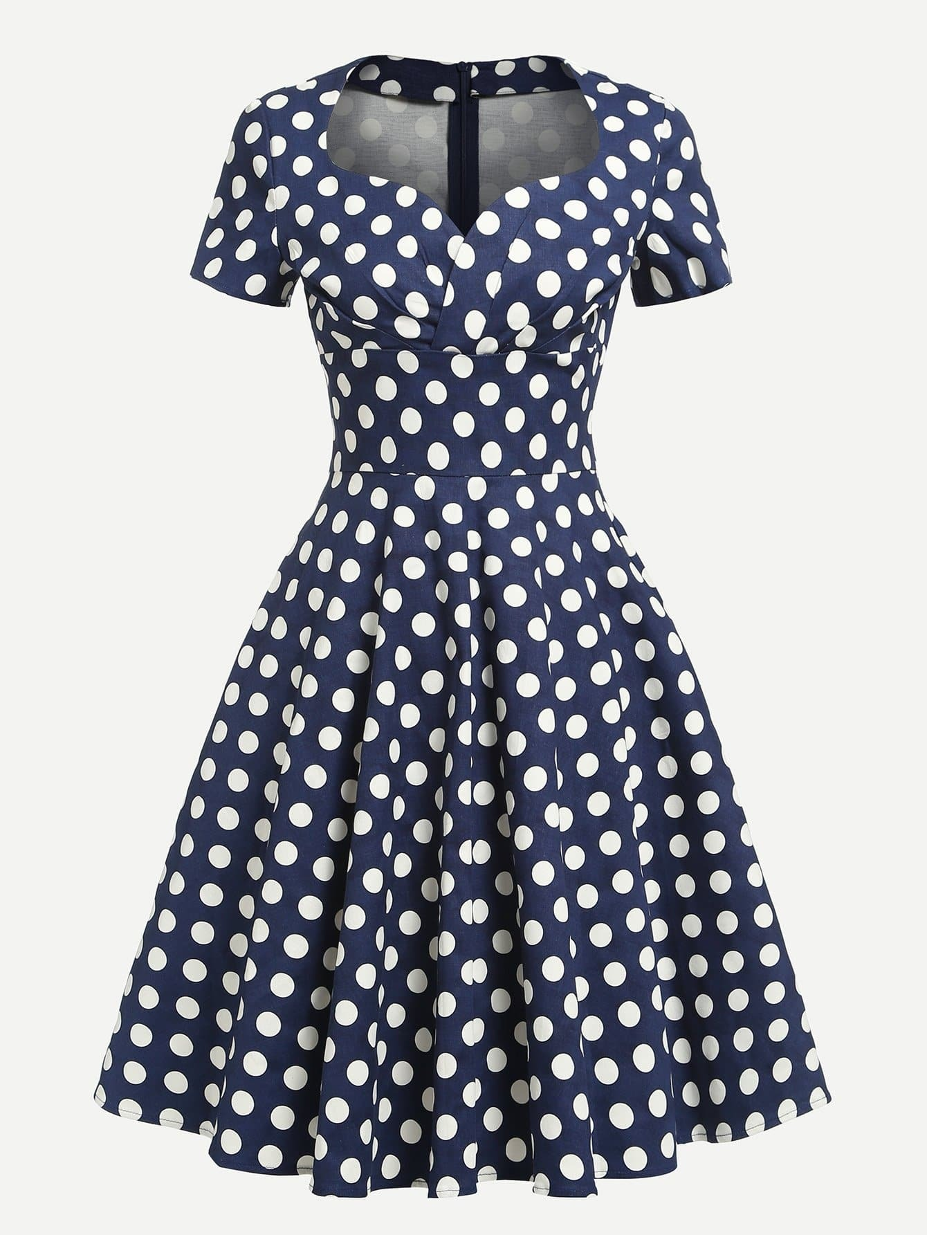 Платье в горошек с воротником сердце
