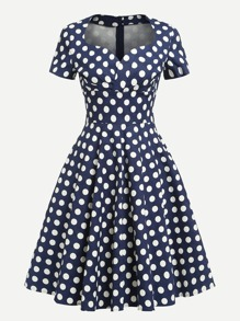 Sweetheart Neckline Polka Dot Dress