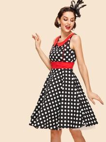 Doll collar Polka Dot Dress