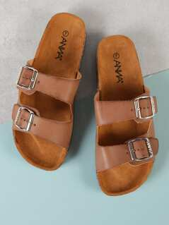 Double Buckle Cork Footbed Slide Sandal