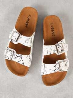 Double Buckle Cork Footbed Slide Sandal