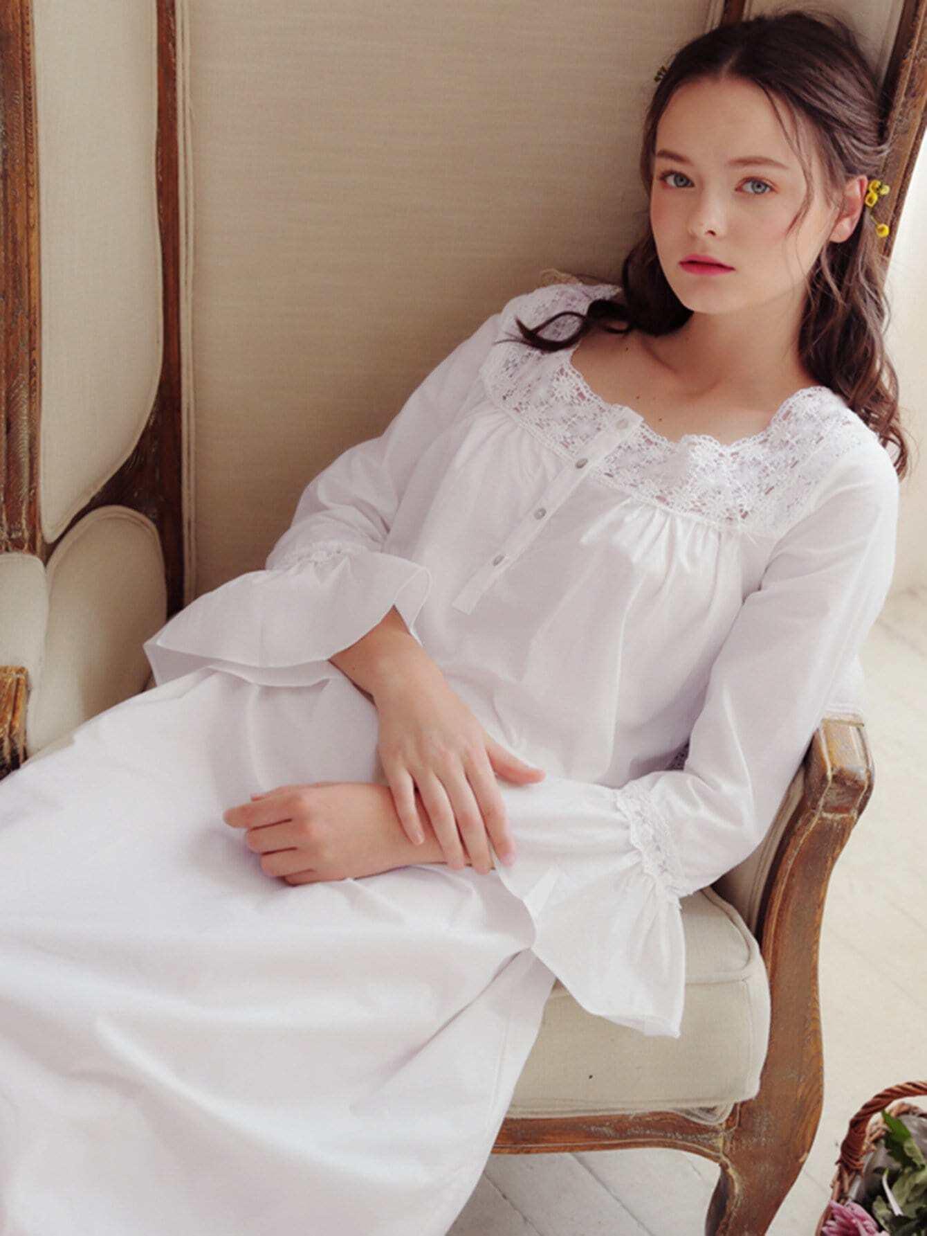 Contrast Lace Ruffle Hem Night Dress stripe contrast ruffle hem hooded dress